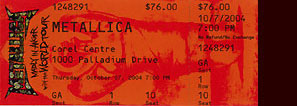 Live Metallica || 10/7/2004 - Corel Center, Ottawa, ON