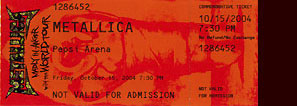 Live Metallica || 10/15/2004 - Pepsi Colisee, Quebec City, QC
