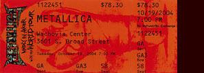 Live Metallica || 10/19/2004 - Wachovia Center, Philadelphia, PA