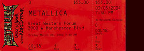 Live Metallica || 3/5/2004 - The Forum, Los Angeles, CA