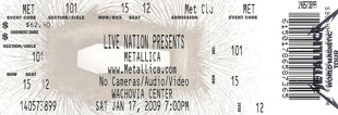 Live Metallica || 1/17/2009 - Wachovia Center, Philadelphia, PA