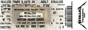 Live Metallica || 11/15/2009 - Madison Square Garden, New York, NY