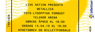Live Metallica || 4/14/2010 - Telenor Arena, Oslo, NOR