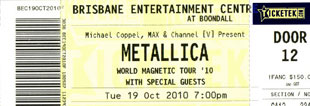 Live Metallica || 10/19/2010 - Entertainment Centre, Brisbane, AUS