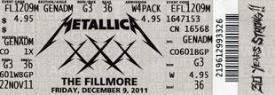 Live Metallica || 12/9/2011 - The Fillmore, San Francisco, CA